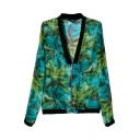 Green Forest Print V-Neck Zipper Fly Coat