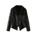 Zipper Fly Faux Leather Coat with Oversized Fluffy Lapel