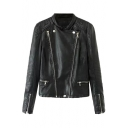 Plain Double Zipper Fly Long Sleeve PU Motorcycle Jacket with Quilted Detail