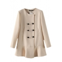 Plain Double-Breast Round Neck Pockets Ruffle Hem Coat