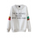 Geometric Color Block Round Neck Letter Print Long Sleeve Sweatshirt