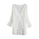 Sexy White Plain Crochet V-Neck Laid Back Long Sleeve Coat