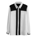 Color Block Lapel Single Breast Pockets Blouse