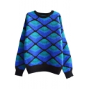 Color Block Diamond Pattern Round Neck Loose Mohair Sweater