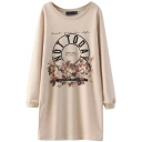 Nude Letter Floral Print Round Neck Long Sleeve Shift Dress