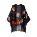 Black Background Floral Print Tassel Open Front Kimono