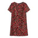Red Background Green Leopard Print Round Neck Short Sleeve Dress