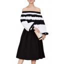 White-Black Stripe Blouson Sleeves Off the Shoulder Chiffon Blouse