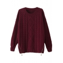 Round Neck Diamond Cable Knitted Sweater with Double Zipper Front