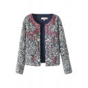 Porcelain Embroider Round Neck Cotton Cropped Coat