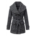 Oversized Collar Double-Breast Belted Fitted Woolen Coat