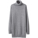 Plain Fitted Turtleneck Tunic Sweater with Long Sleeve