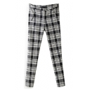 Mono Plaid Pattern Zipper Fly Straight Leg Pants