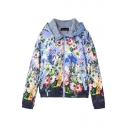 Colorful Floral Print Zipper Fly Hooded Coat with Double Pocket Front