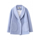 Plain Lapel Single Toggle Long Sleeve Coat with Double Round Pocket Front