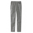 Mini Houndstooth Pattern Cigarette Pants with Paperbag Waist