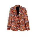 Red Cashew Print Notched Lapel Single-Breasted Blazer