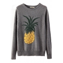 Gray Long Sleeve Pineapple Pattern Sweater with Round Neck