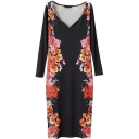 Deep V-Neck Black Background Opulent Rose Print Long Sleeve Longline Slim Dress