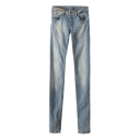 Faded Light Wash Low Rise Pencil Jeans with Zip Fly