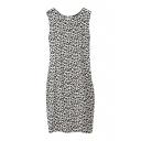 Leopard Print Round Neck Sleeveless Sun Dress with Zip Back
