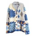 Lapel Blue Background Geometric Color Block Button Fly Cardigan