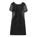 Black Plain PU Panel Short Sleeve Fitted Round Neck Dress