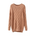 Plain Round Neck Cable Knit Split Hem Sweater