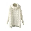 High Neck Plain Vertical Cable Knitted Dip Hem Sweater with Side Split