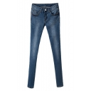 Mid Wash Stretch Denim Mid Rise Fitted Pencil Jeans