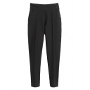 Black Plain Gathered Waist Pockets Pencil Pants