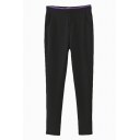 Plain Fitted Elastic Zipper Fly Purple Waist Pencil Pants