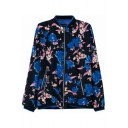 Stand Collar Blue Flower Print Jacket with Zip Pocket