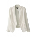 Plain Stand-Up Collar Open Front Gathered Waist Fitted Blazer
