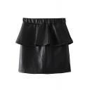 Plain Ruffle Trim Insert Elastic Waist Pencil PU Skirt