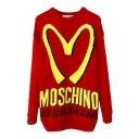 Big M Pattern Long Sleeve Longline Sweater with Round Neck