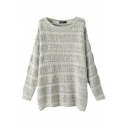 Gray Cut Out Open Knit Stripe Round Neck Long Sleeve Sweater