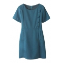 Plain Round Neck Short Sleeve Dress with Side Button and Zip Back
