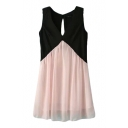 Color Block Chiffon V-Neck Cutout Back Sleeveless Sun Dress