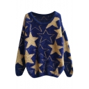 Gold Five-Pointed Star Pattern Round Neck Fluffy Sweater