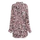 Pink Leopard Print V-Neck Stand Collar High Low Hem Dress
