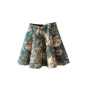 Elastic High Waist Painting Floral Bubble Mini Skirt