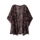 Black Cashew Print Open Front Short Bat Sleeve Kimono