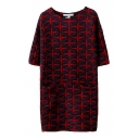Round Neck Batwing 3/4 Sleeve Four-Pointed Star Pattern Dress