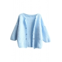 3/4 Flare Sleeve Soft Cat Hair Button Fly Plain Cardigan