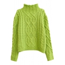 Half High Collar Multi Cable Knit Cropped Plain Long Sleeve Sweater