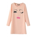 Big Eyes and Red Lips Print Round Neck Pink Dress