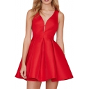 Red Sexy Plunge Neck Fit&Flare Tanks Dress
