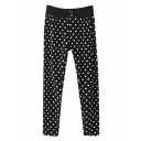 High Waist Double Button Polka Dot Harem Pants