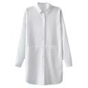 Concealed Pockets Plain Concise Longline Shirt